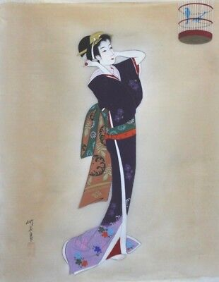 Antique hand painted/signed Geisha Silk Japanese Art Painting Lady fixing hair