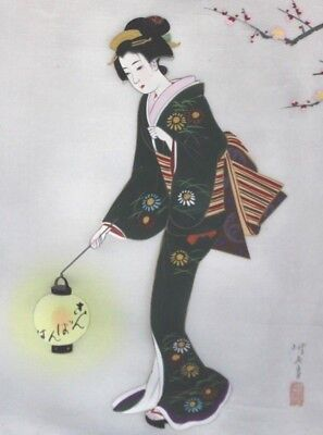 Antique hand painted/signed Geisha on Silk Japanese Art Painting Woman lantern