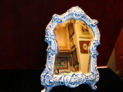 Antique Royal Delft Dresser Mirror Early 1800's Beveled Mirror adjustable stand