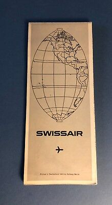 Vintage Swissair Airlines Map Of Route 1969