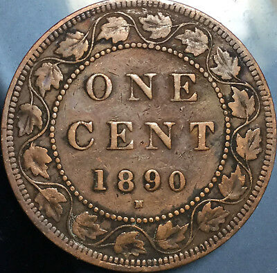 1890H CANADA LARGE 1 CENT PENNY - Keydate penny in good details!