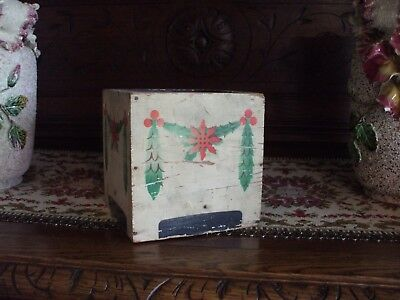 Vintage Christmas Tree Base for Feather Small Tree Wood Painted Garland Swag