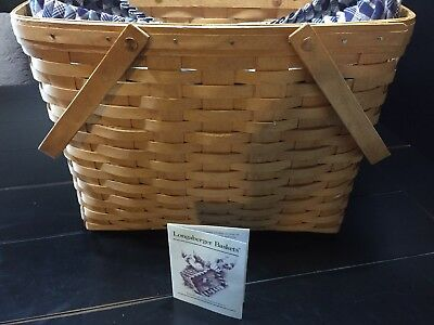 LONGABERGER 1993 Swing Handle Magazine Basket w Protector/Stand Up Liner~Nice
