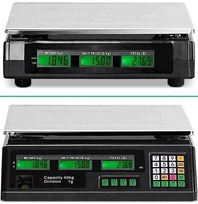 Digital Shop Scales - Pricing Feature 40KG Capacity - Back-up Battery & AC 240V