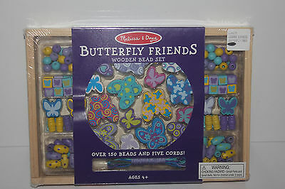 NEW Melissa & Doug Butterfly Friends Wooden Bead Set Over 150 Beads 5 Cords