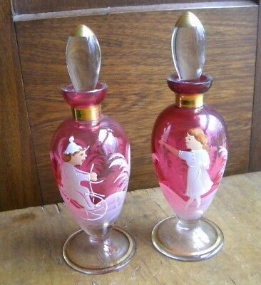 PAIR OF Mary Gregory Cranberry Glass Perfume Bottle BOY ON BIKE GIRL WITH BIRD