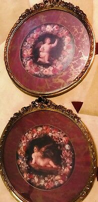 Vintage Pair of Wall Round Gold Resin Framed Matted Angel Prints