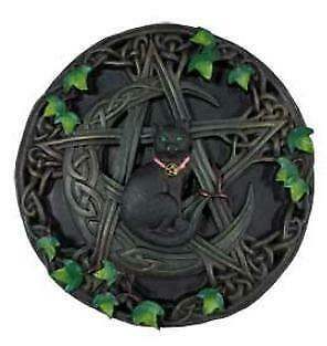 Cat with Pentagram Wall Plaque goth decor Wicca Pagan