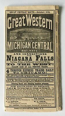 Vintage 1876 Great Western Michigan Central Railways Timetable Map RR Chicago NY