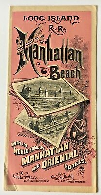 1884 Long Island Railroad RR Timetable map Brochure Manhattan Beach Coney Island