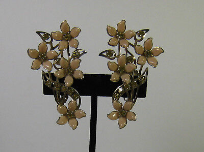 Vtg. Pale Pink/Beige Lucite Flowers w/Green Rhinestones Clip On Earings