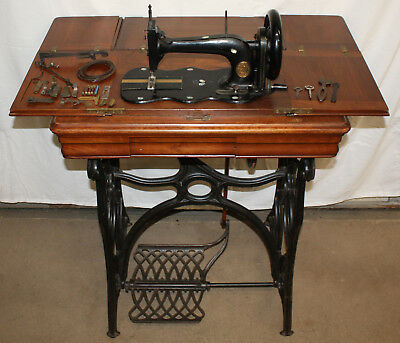"""1871 Singer Sewing Machine """"New Family"""" Model 12, Treadle, Mother of Pearl Inlay"""