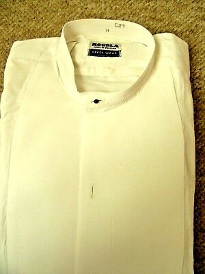 VINTAGE Starched tunic dress shirt size 14 WITH separate COLLAR by 'ROCOLA'