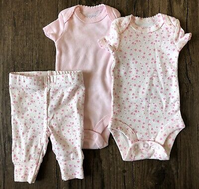 d10d17686 Carters Just One You Preemie Outfit Girl 3 Piece Set Lot Pants Bodysuit  Flowers