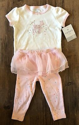 Carters 9 Month Girl Outfit Cute Like My Auntie Pink Tutu 2 PC Set Lot Deer