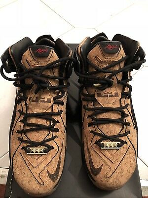 17c373c318fc0 NIKE LEBRON XII EXT Cork Natural Black Mettalic Gold 768829 100 Size ...