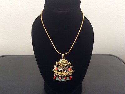 Ancient Egyptian Horus Symbol Gold Tone With Multi-Color Enamel Pendant Necklace