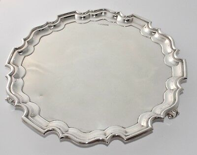 883g 1930 Sterling Silver Salver Tray on 3 Feet - Walker & Hall - Pie Crust Band