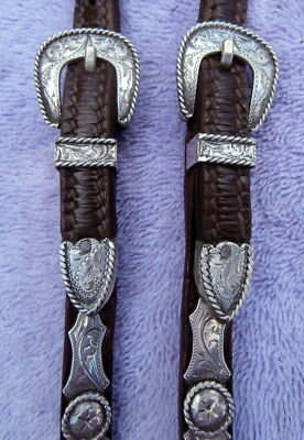 Fancy Vintage Split Ear Horse Show Headstall with Sterling Silver Pieces/Conchos