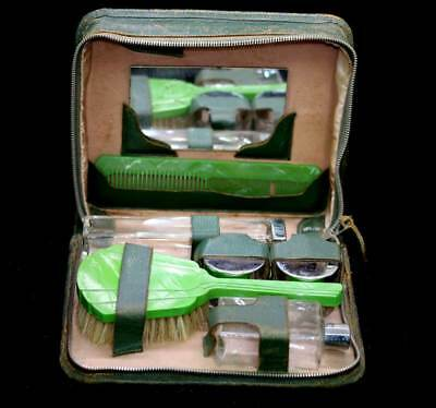 Vintage green celluloid dressing table vanity set in original leather case