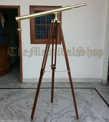 Vintage Style Collectible Brass Marine Tripod Telescope Port Island Antique Gif