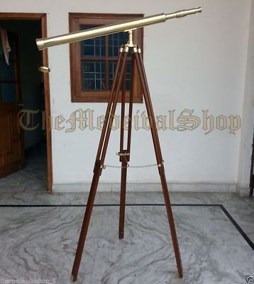 Vintage Style Collectible Brass Marine Tripod Telescope Port Island Antique Gift