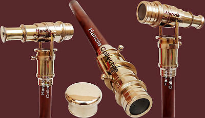 Handmade Foldable Wooden Walking Stick Cane with Nautical Brass Telescope Handle