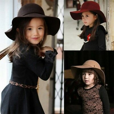 Toddler Baby Kid Girls Wide Brim Fedora Hat Cute Bow Knot Cloche Floopy Hat Cap