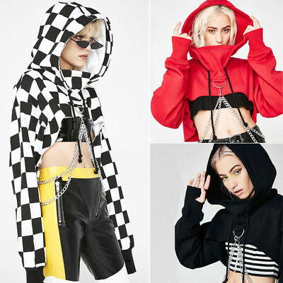 Women Hoodie Sexy Gothic Punk Crop Top Hooded Sweatshirt Sweater Pullover Jumper