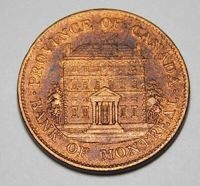 Province Of Canada Bank Of Montreal 1844 Half Penny Token