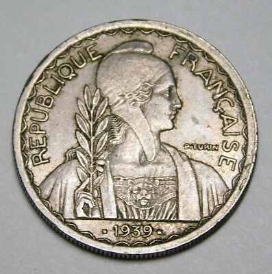 French 1939 Indo China 20 Cent Coin
