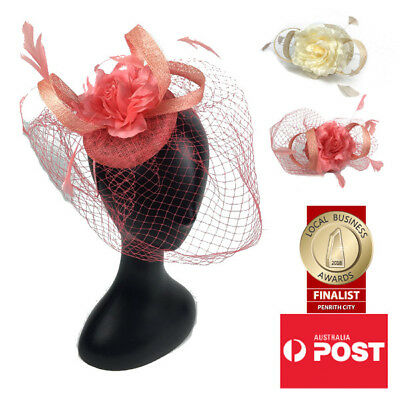Women's Fashion Fascinators Spring Races Melbourne Cup Wedding Sinamay Flower