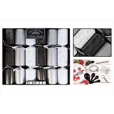 6 Deluxe Christmas Crackers Family Xmas Party Dining Table Black White Silver