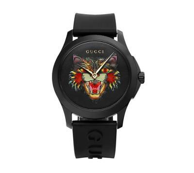 787d59bef01 GUCCI YA1264021 G-Timeless Angry Cat 38mm Unisex Rubber Watch