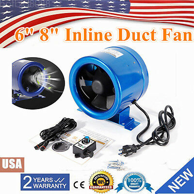 "6"" 8"" Mixed Flow Inline Duct Fan Bathroom Extractor Blower Booster Speed Control"