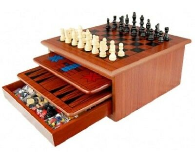 Checkers Chess Wooden Board Games Set 10 Game Box New all Ages  2 YEARS WARRANTY