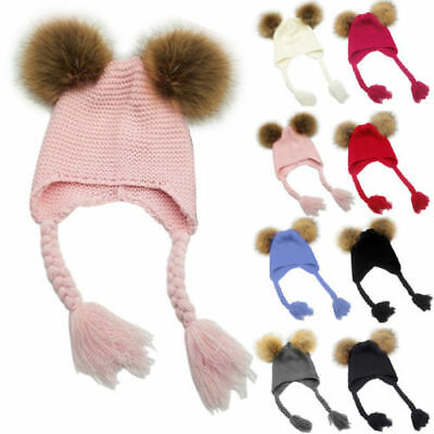 Toddler Kids Girl Boy Baby Infant Winter Warm Crochet Knit Hat Pompom Beanie Cap