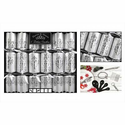 6 Deluxe Glitter Christmas Crackers Family Xmas Party Dining Table Matte Silver