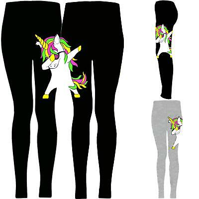 Girls Unicorn Leggings Kids Party Full Length Trousers Pants Ages 2 - 13 Years .