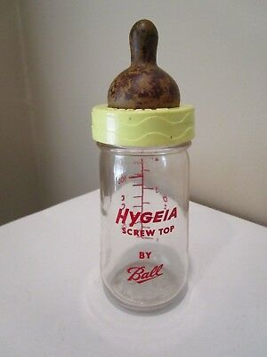 Vintage Baby Bottle HYGEIA Screw Top Glass 4 oz by BALL with nipple