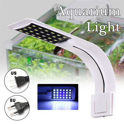 10W 24 LED 5730 SMD Aquarium Light Clip Fish Tank Lamp White:Blue 5:1 220V