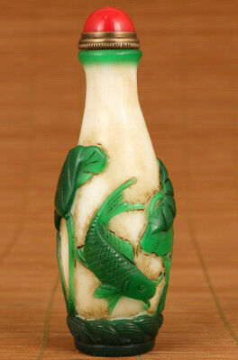 Unique chinese old Big Glaze Hand Carved Fish Statue Snuff Bottle