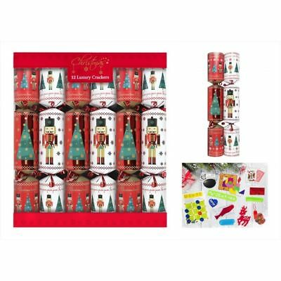 12 Luxury Christmas Crackers Family Xmas Dining Table Red White Tree Soldier
