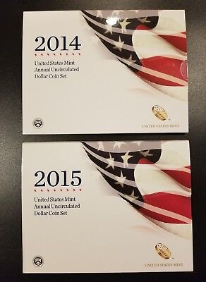 2014 and 2015 Annual Uncirculated Dollar Coin Sets - PRISTINE SETS
