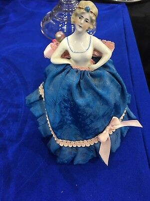 Antique GERMAN PORCELAIN PINCUSHION HALF DOLL, Dresses In Blue And Pink Numbered