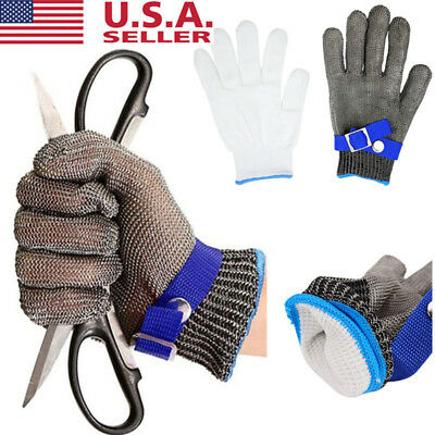 Safety Cut Proof Stab Resistant Stainless Steel Metal Mesh Butcher Glove Silver