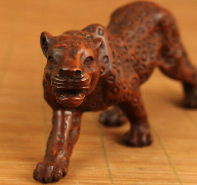 big antique chinese old boxwood hand carved leopard statue netsuke collectable