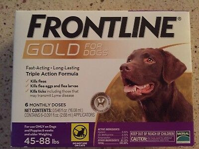 Frontline Gold For Dogs 45-88 Lbs 6Pack Epa Approved Sealed Box