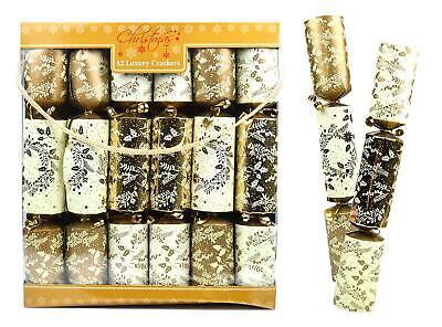 12 Luxury Christmas Crackers Family Xmas Dining Table Metallic Gold Cream Holly