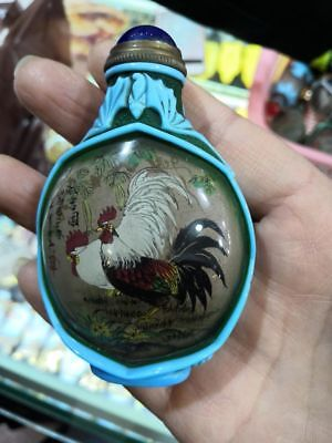 China Coloured Glaze carve bat Glass Inside painting cock chicken Snuff Bottle